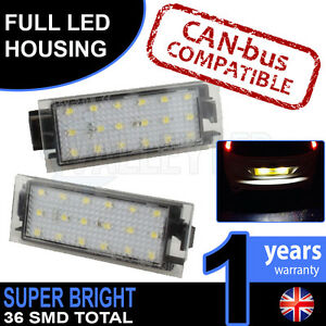 Renault Clio Mk3 06-on Complete LED Number Plate Housings Canbus Super Bright