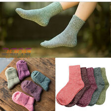 12b1044bc77 5 Pairs Women Wool Cashmere Thick Winter Warm Socks Soft Solid Casual  Sports UK