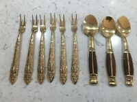 Six Thailand Gold Plate Hors d'Oeuvres Forks And Three Spoons