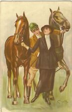 GRANDE  HUNTING LADY WITH HORSE.  ITALY ART NOUVEAU.
