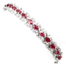 Precious Pear Cut 5x3mm Red Pink Ruby Cz 925 Sterling Silver Bracelet 7.5 Inch