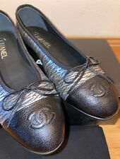 NEW Authentic CHANEL CLASSIC BLACK/SILVER BALLET FLATS 40