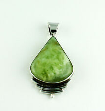 PREHNITE NATURAL GEMSTONE PENDANTS SOLID 925 STERLING SILVER JEWELRY 19.6 G