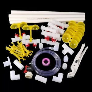 Chicken Drinking System Set Water Fountain Nipple Tank Connectors Poultry Supply