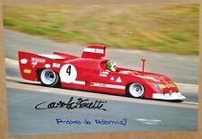 Hand-signed autograph Carlo Facetti & Andrea de Adamich: Alfa Romeo T33 1974