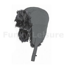 Unisex Faux Fur Trapper Style Hat - Charcoal