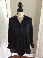 KENNETH COLE NEW YORK Women's Black Long Sleeve Tuxedo Blouse Size 4 Polyester
