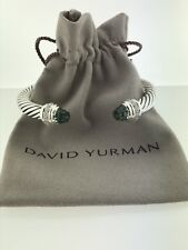 David Yurman Sterling Silver Prasiolite Diamond 7mm Cable Cuff Bracelet