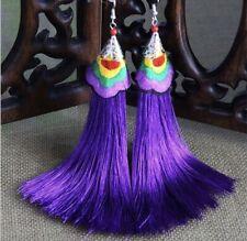Earring Boho Festival Party Boutique Uk Purple Luxury Long Drop Tassel Fashion