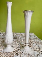 Set of 2 Lenox Porcelain Floral Bud Vases Ivory W/gold Rim Raised Relief Flowers