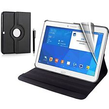 For Galaxy Tab 4 10.1 SM-T530 Leather 360 Case Cover free Protector Stylus BLACK