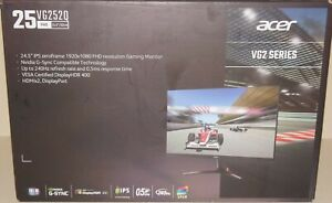 """New Acer Nitro VG252Q Xbmiipx 24.5"""" Full HD Gaming Monitor Built-in Speaker HDMI"""
