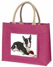 Bull Terrier Dog with Red Rose Large Pink Shopping Bag Christmas Pr, AD-BUT2RBLP