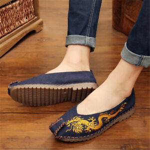 Summer Embroidery Dragon Men's Shoes Pedal Lazy Shoes Casual Shoes Linen Straw