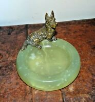 Antique Art Deco 1920's Austrian Bronze Scottish Terrier Green Onyx Trinket Dish