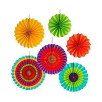 Colorful Paper Fans Party Decorations 6pcs Mexican Fiesta Hanging Decor Birthday
