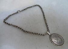 Victorian Silver Necklace Collar & Locket Pendant 27g 42cm A602017