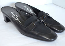 Salvatore Ferragamo Boutique Slides Womens 7 B Black Leather Tassel Mules Pumps