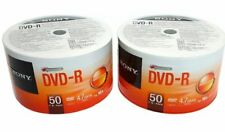 100 SONY Blank DVD-R DVDR 16X 4.7GB Recordable Logo Branded Media Disc
