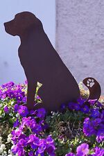 Edelrost Hund groß 21 cm zum Stecken Gartendekoration Pflanztopf Figur