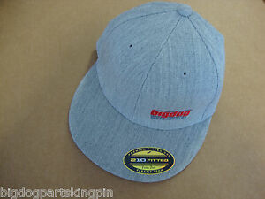 BIG DOG MOTORCYCLES L/XL HAT SNAPBACK GRAY EMBROIDERED LOGO 210 FITTED FLEXFIT