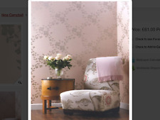 22yd OSBORNE LITTLE Nina Campbell ALYSSA Botanical Lattice Pink Silver Wallpaper
