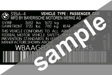 BMW Car Data Sticker Pillar VIN Tag Dash ID Door Jamb Decal Certification Label