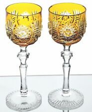 """2 Bohemian German Amber Gold Cased Crystal Cut to Clear Liqueur Cordials 5 3/4"""""""