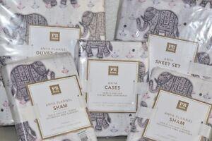 NEW Pottery Barn Teen 9 pc ANYA Full Queen Sheet Set Duvet Sham Cases ELEPHANT