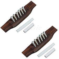 2 Set Acoustic Guitar Bridge Bone End Pins Saddle Nut Parts Replacement