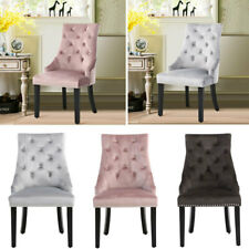 Set of 2/4 Velvet Dining Chair with Pull Knocker Studded Button Back Tufted Seat