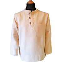 BN Thick Cotton Hippy Long Sleeved Toggle Grandad / Ghillie Shirt in Cream