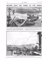 1915 ANTIQUE PRINT - WW1- BEATING BACK THE TURKS AT THE DARDANELLES, 2 PAGES