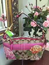 Coach Floral Applique Bag Signature Stripe Pouch Pink Brown 41420 B23