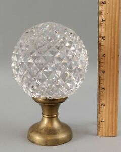Large Antique 19thC Victorian Cut Glass & Brass Architectural Newel Post Finial