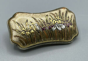 Rare & Unusual Quality Art Nouveau Hand Painted Iris Flower Silver Plated Brooch