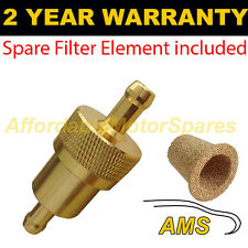 "GOLD 3/8"" & SPARE ELEMENT METAL UNIVERSAL IN LINE FUEL FILTER ANODISED ALUMINIUM"