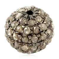 Natural Pave Diamond Bead Spacer Finding 925 Sterling Silver New Jewelry 11x7 mm