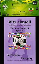 2006 World Cup Ticket & Programme 20 Sweden - Paraguay, 15.06.2006 in Berlin