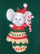 1987 Enesco Treasury Christmas Ornament Mouse In A Mitten In Box
