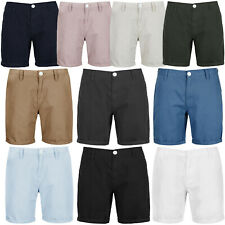 Brave Soul Mens Cotton Twill Smart Casual Turn Up Summer Chino Shorts