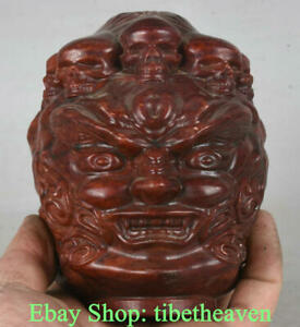 "4.8"" Old Tibet Red Stone Buddhism devil demon evil God Buddha Head Skull Statue"