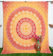 Queen Size Mandala Tapestry Printed Bedsheet Wall hanging Ombre Wall Decor