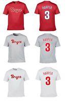 BRYCE HARPER #3 PHILLIES TEAM CUSTOM LOGO PLAYER NAME & NUMBER JERSEY T-SHIRT