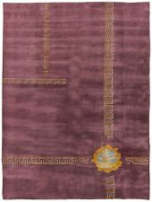 Midcentury Chinese Purple and Orange Hand Knotted Wool Rug BB6188
