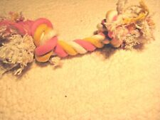 """8"""" Braided Rope w/ Knots Toy Dog Pet NWOT Pink White & Yellow"""