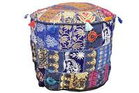 22'' Bohemian Patchwork Pouf Cover Ottoman Ethnic Decor Indian Pouffe Foot Stool