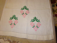 VTG Embroidered OFF WHITE PURE Linen TABLE Runner DRESSER SCARF PINK DAISIES