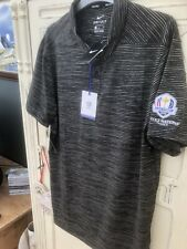 Nike Tiger Woods Golf Ryder Cup Paris 2018 Polo Shirt Black 932196 010 New S