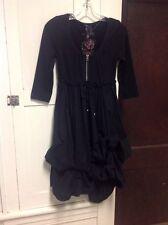 """KappAh! Black Gypsy/Goth/Boho-Hippie Dress , """"free your mind"""" size 32/34"""